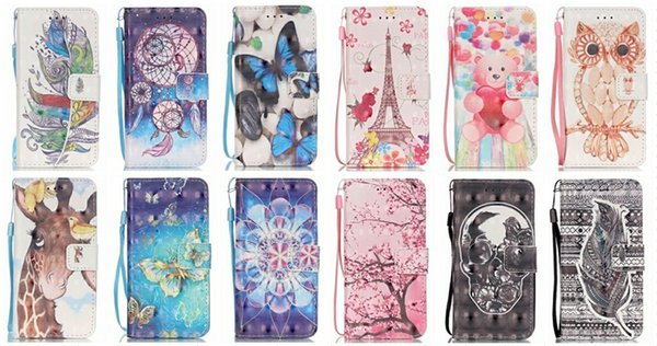Wallet Leather Flip Cover Flower Butterfly Bear Eiffel Tower Strap Cartoon For Iphone 8 7/6 6S/Plus/5S SE/Touch 6 5 For LG K5 K7 LS775 Pouch