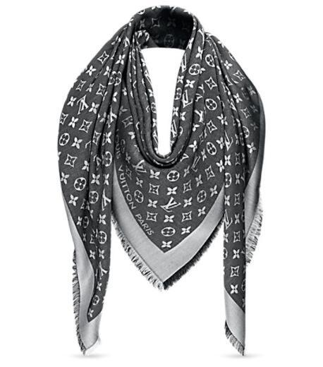 gray Check Wool Cotton Cashmere Silk Scarves Scarf Wrap Shawl Pashmina SHINE SCARF