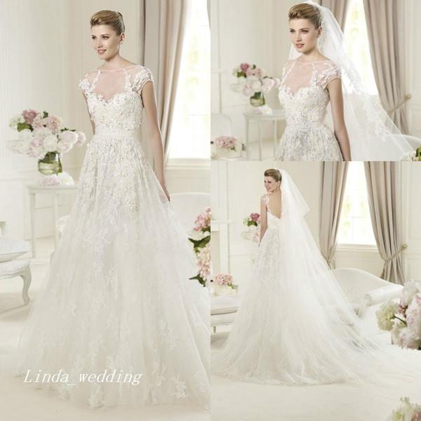 Vintage ELIE SAAB robes de mariée parfaites belle élégante une ligne dentelle tulle longues femmes robes de soirée de mariée