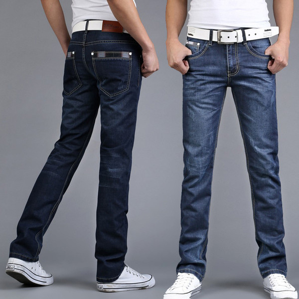Wholesale-With Stretch Free shipping 2016 fashion mens Jeans Casual mens Regular 100%cotton Jeans men thin breathable Men Denim Jeans