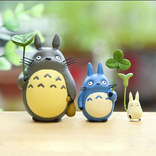 Cute 3PCS/SET Miyazaki Totoro Leaf Anime Cartoon Mini Minion Action Figure Toy Model Toys Christmas Gifts Gardening Ornaments