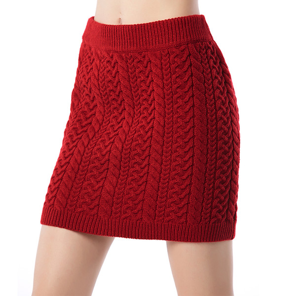 Beauty Garden Women Wool Sweater Knit Bodycon Fit Sexy Short Skirt Fashion Spring Party Club Mini Red/ Black Skirt
