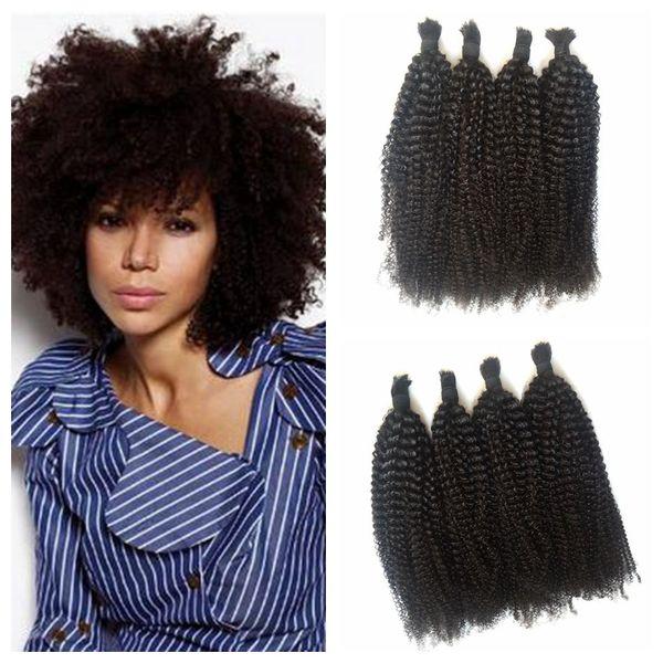 Brazilian Human Braiding Hair Bulk No Weft No Attachment Unprocessed Virgin Hair Natural Black Kinky Curly Bulk Hair For Braiding G-EASY
