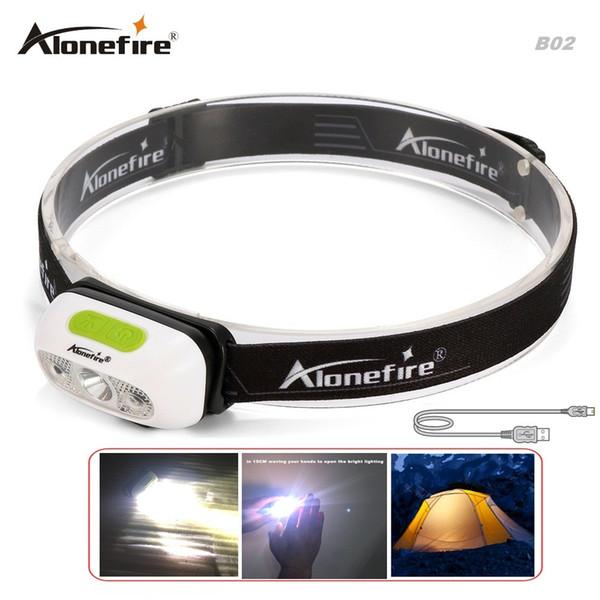 AloneFire B02 Indução levou cabeça da lâmpada CREE XP-G2 farol USB Farol cabeça impermeável tocha Built-in luzes da lanterna bateria de lítio