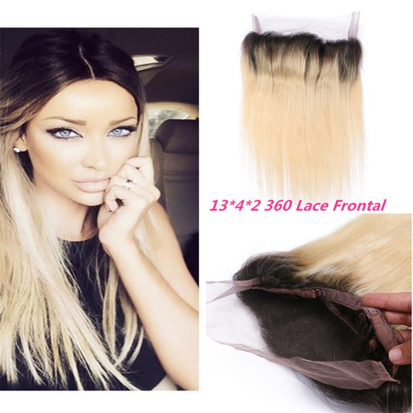 #1B/613 Platinum Blonde 360 Lace Band Frontal With Baby Hair Bleached Knots Brazilian Straight 360 Lace Frontal Closure Natural Hairline
