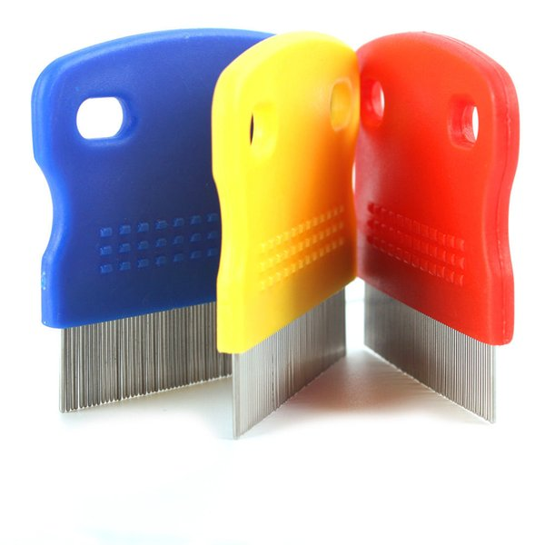 Pet Cat Dog Flea Fine Toothed Clean Comb Hair Brush Soft Protection Steel Small With 3 Colors Red Blue Yellow
