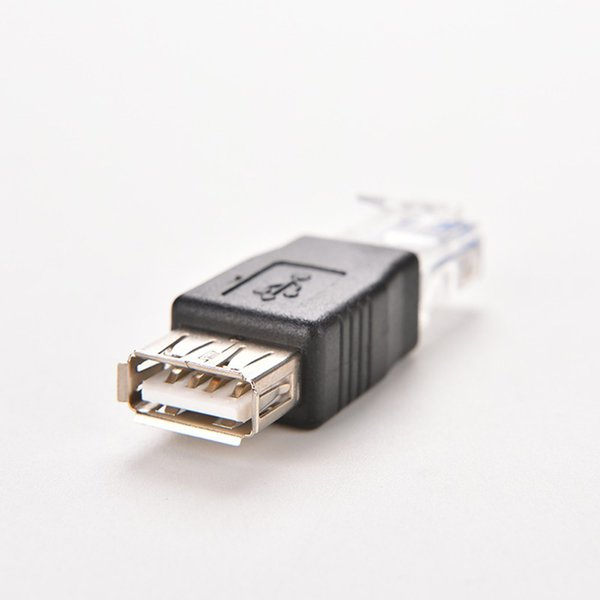 Wholesale- Crystal Head RJ45 USB A Female Adapter Connector Laptop Ethernet Converter Plug