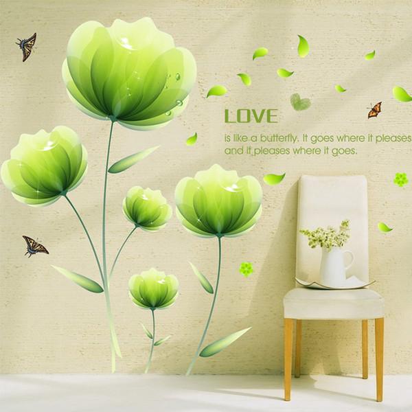adesivo da parete a fiori verdi adesivi da parete floreale camera ... - Adesivi Per Camera Da Letto