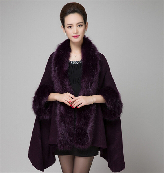 Knitted Fur Shawl Wrap Cape With Fox Fur Collar Fall Winter Knitted Cardigan Sweater Women Faux Fur Hood Cardigans