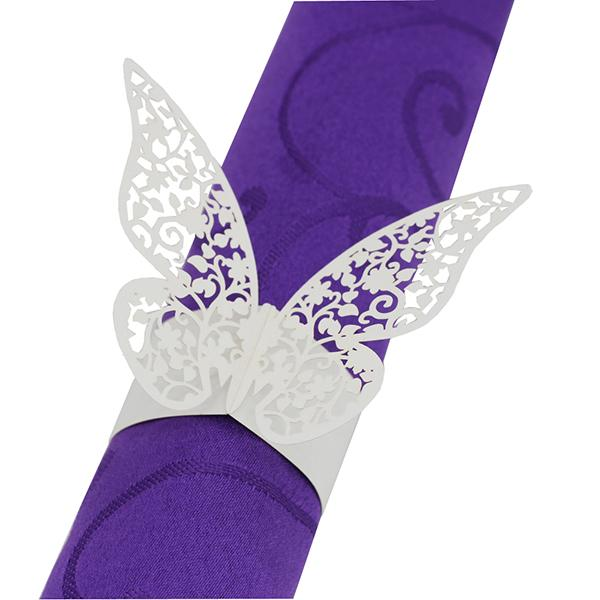 100PCS Laser Cut Butterfly Paper Napkin Ring Holders Hollow out Paper Napkin Band Buckle Ring Wedding Party Home Hotel Table Decoration