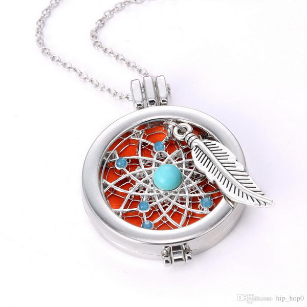 top popular Aromatherapy Jewelry Necklace Vintage My DIY Coins Angle Wing Locket Pendant Essential Oil Diffuser Necklace 2016 New Arrival 2019