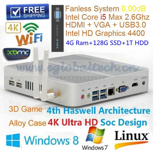 Intel Core I5 4200U Fanless Mini PC do computador OS Windows 4 GB de RAM 128 GB SSD 1 TB HDD HDMI USB3.0 Haswell Cliente Fino HTPC