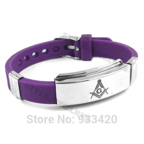 Free shipping! Classic Masonic Bracelet Stainless Steel Jewelry Purple Blue Rubber Motor Bracelet Men Wholesale SJB0213B
