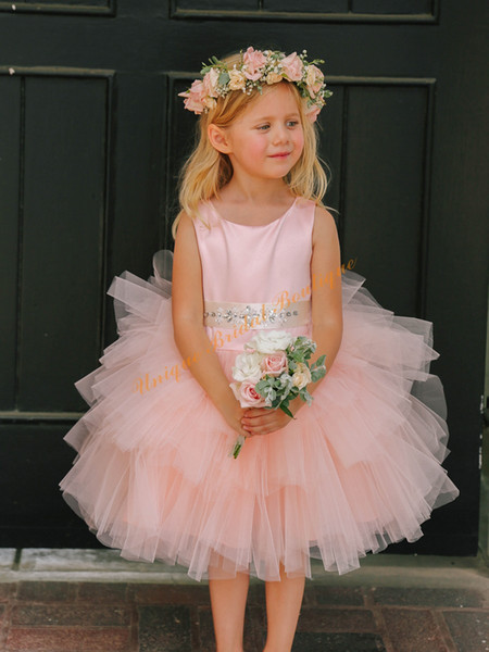 2016 Blush Girls Cupcake Wedding Tutu Dresses with Beaded Sash and Tiered Skirt Real Pics Ball Gown Blush First Communion Dresses for Girls