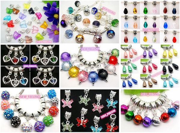 100pcs/lot Mixed Style Crystal/Rhinestone/Resin Beads/Bells Dangle Pendants fit European Bracelet & Necklace DIY Jewelry Making