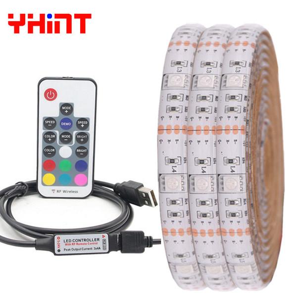 DC5V USB RGB 5050 TV LED Şerit 30 led / m 50 CM / 1 M // 2 M / 3 m / 4 m / 5 m PC dekorasyon LED şerit kişisel bilgisayar arka plan aydınlatma led 17 anahtar uzaktan