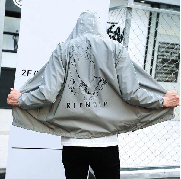 Großhandel Alle Reflektierende RIPNDIP Männer Frauen Hochwertige Jacke Windbreaker Hoodie Sport Marke Bekleidung 3M RIPNDIP Katze Bomber MA1 Coat Von