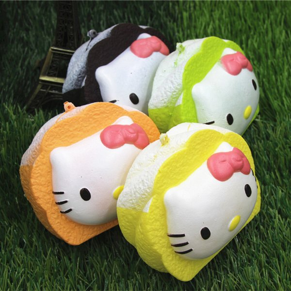 12PCS-10cm jumbo kawaii hello kitty Squishy slow rising bread Wrist Pad soft squishies Pendant Girl Gift wholesale