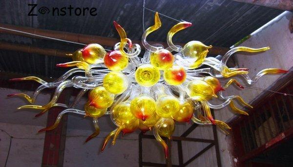 Projeto original de Vidro Bolha Pingente Lustres de Alta Teto Pendurado Decoração Lâmpadas LED Feitos À Mão Lustre De Vidro Soprado