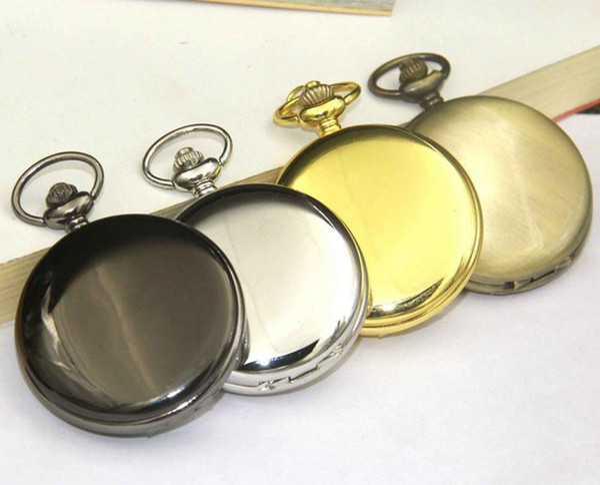 Reloj de pulsera de lujo clásico superficie lisa Rose oro reloj de bolsillo de cuarzo Dial blanco números árabes reloj de bolsillo