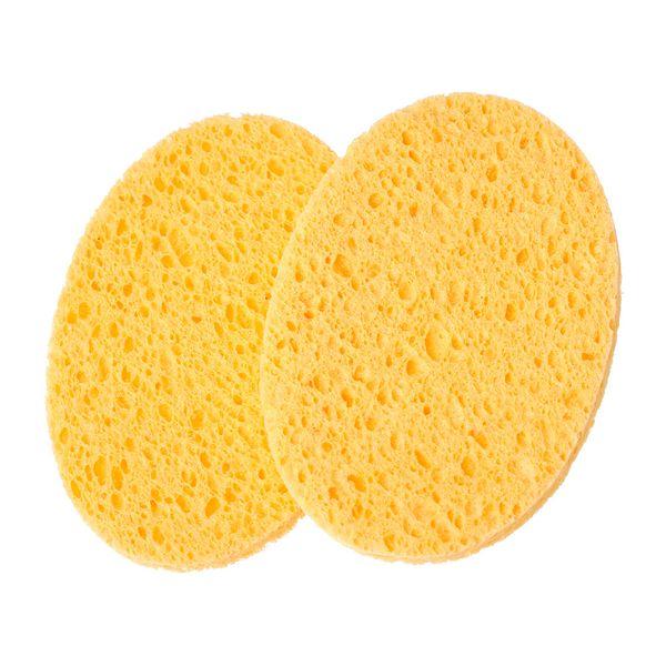 Wholesale- DoreenBeads Natural Wood Fiber Face Wash Cleansing Sponge Beauty Makeup Tools Accessories Oval Yellow 11.5cm x 8cm, 4 PCs