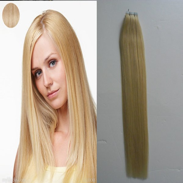 Tape Hair Extensions 100g 40Pcs/lot Blonde Brazilian Virgin Remy Skin Weft Tape Adhesive Hair Extensions Products Tape Hair Extensions