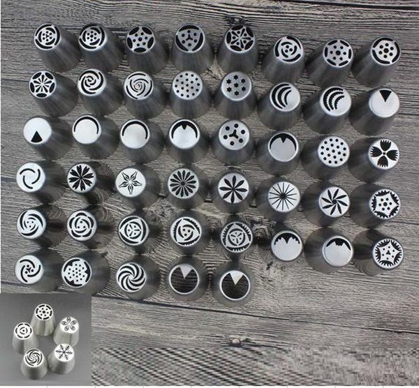50Pcs/Lot Russian Tulip Nozzles Cake Cupcake Decorating Icing Piping Nozzles Russian Rose Flower Cream Nozzles Pastry