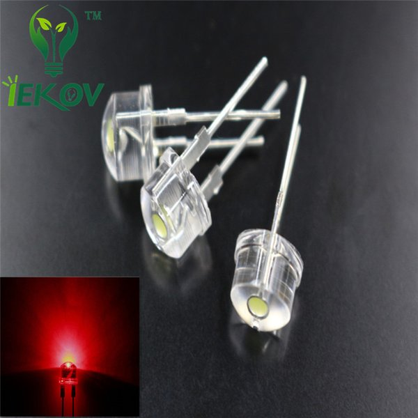 best selling Hot SALE 100pcs bag 8mm 0.5W Straw Hat Red High Power LED Light Ultra Bright F8MM Led Electronic Components light Emitting Diodes