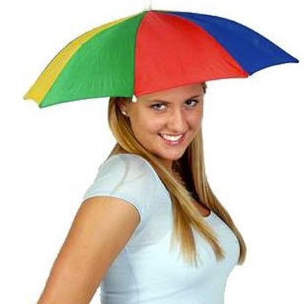 Deportes al aire libre portátil Sombrero Sombrero Gorra Plegable Mujeres Hombres Paraguas Pesca Senderismo Golf Playa Sombrero Manos Libres Paraguas Colores del arco iris