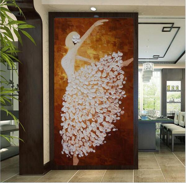 Acheter Photo 3d Tissu Non Tissé Fonds D écran Couloir Peintures Murales Ballerina Fille Peinture à L Huile Décor à La Maison Salon Chambre Chambre