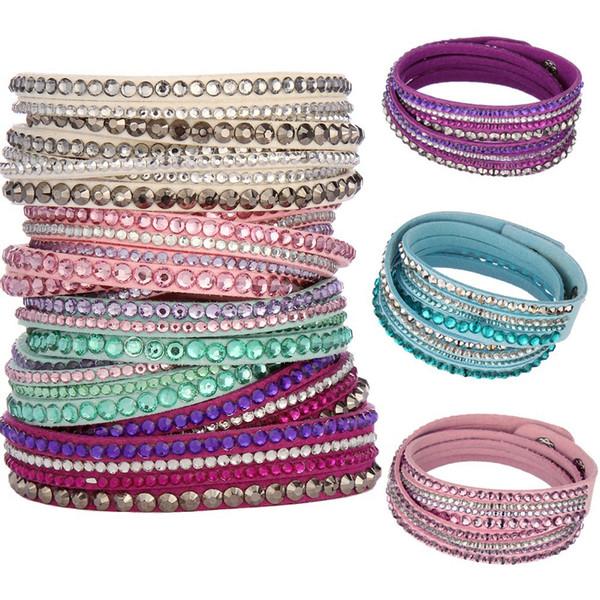 Top Qualité Mode Multicouche Wrap Cuir Bracelets Slake Deluxe Charme En Cuir Bracelets Avec Mousseux Cristal Femmes Fine Jewelry Cadeau