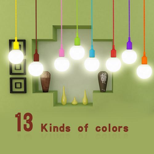 1 Pcs Coloré E27 Silicone LED support de lampe BRICOLAGE Rainbow Pendentif lumières Droplight Vintage Edison Ampoule Pour La Décoration Art éclairage