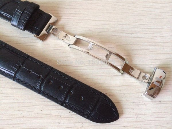 20mm (Buckle18mm) T063617 T063610 High Quality Silver Butterfly Buckle + T063639Black Genuine Leather Watch Bands Strap men