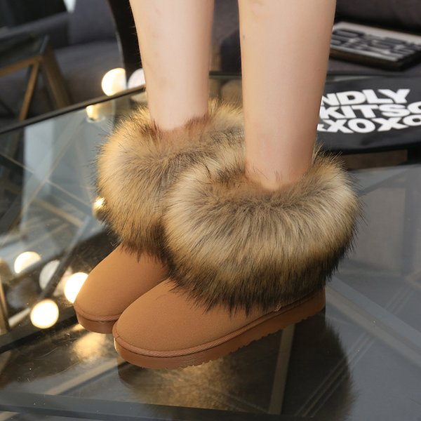 Fashion Women Snow Boots Plush Faux Fur Ladies Ankle Boots for Women 2017 New High Quality Flats Warm Winter Boots Women Shoes