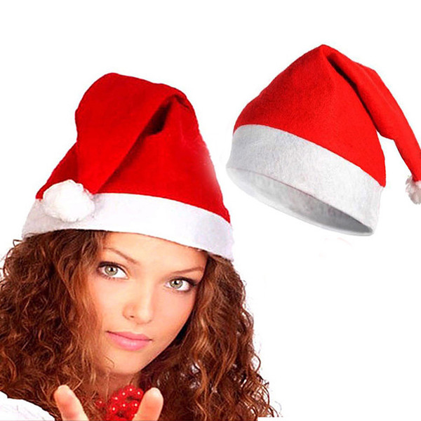 2Pcs Soft Plush Ultra Thick Santa Claus Patry Christmas Cap Hat For Adults