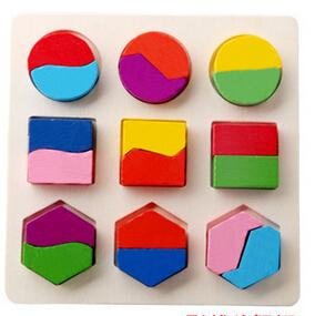 best selling Wholesale-Kids Baby children Wooden Learning Geometry Educational Toys Puzzle Montessori Free Shipping
