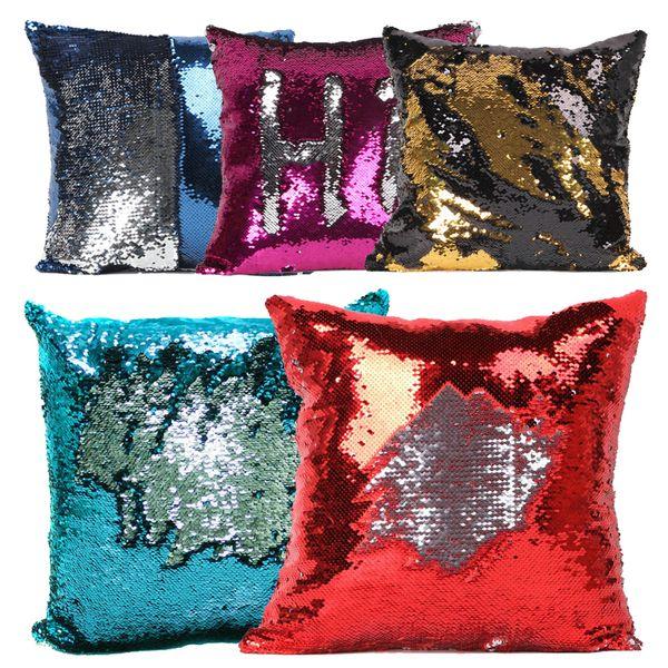 Paillettes Pillow Case 2 Tone Color Divano Perla Paillettes Federa reversibile Bagliore Iridescente Mesmerized Pillow Covers Decorativa per la casa in magazzino