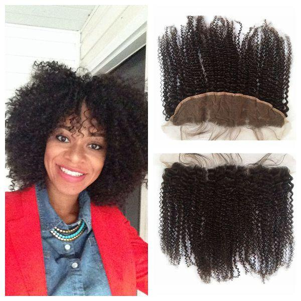 Kinky Curly Full Lace Frontal Closure 13x4 Cheap Mongolian Curly Virgin Hair Ear To Ear Lace Frontals Bleached Knots G-EASY
