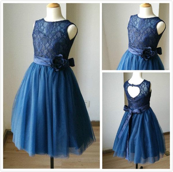 Navy Blue Lace Tulle Sweetheart Tulle Keyhole Flower Girl Dress Kids Children Junior Bridesmaid Dress With Navy Sash Detachable For Wedding