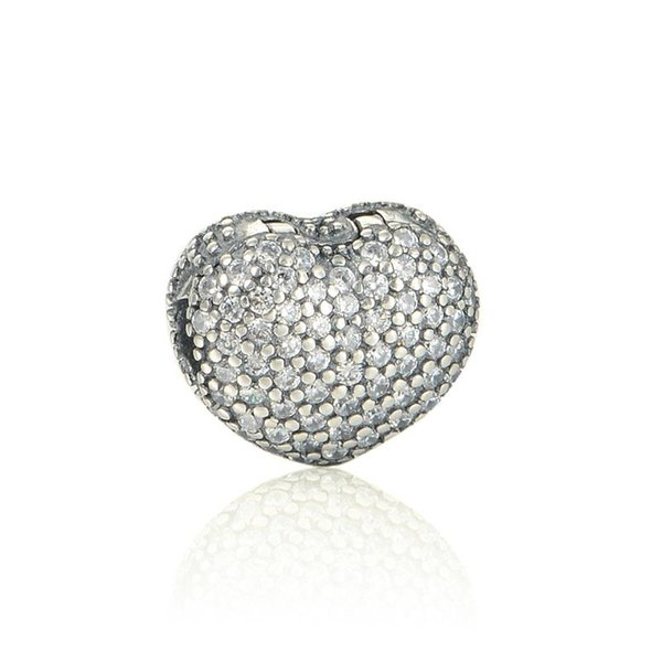 Heart charms clips 925 sterling silver fits DIY bracelet free shipping hot sale KT090-N