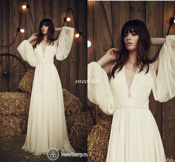 Jenny Packham Bohemia 2019 Wedding Dresses Plunging Pleated Chiffon Floor Length Long Sleeve Simple Summer Beach Bridal Wedding Gowns