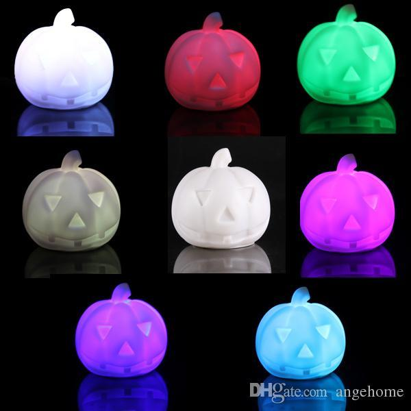 Free Shipping Pumpkin 7-Color Changing LED Lamp Decor Night Light Halloween toy Xmas gift for Kid's Bedroom Decoration