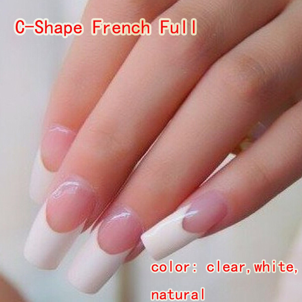 C Shape French Full Tips With Box /Box Clear,White,Natural Nail Tips ...