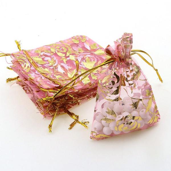 100 pc / lot 7x9 cm rosa oro color de bronce que broncea Drawable organza regalo de boda bolsos bolsos