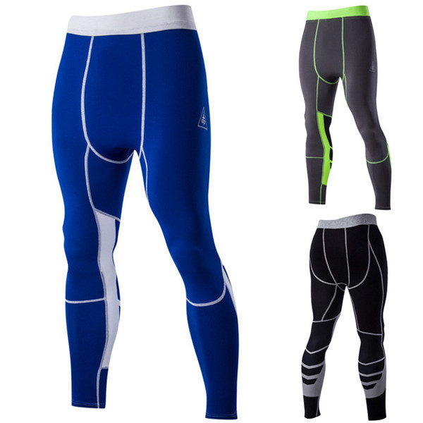 Wholesale-2016 Newest men compression tights sport running pants quick dry fitness mens leggings gym patchwork trousers pantalones