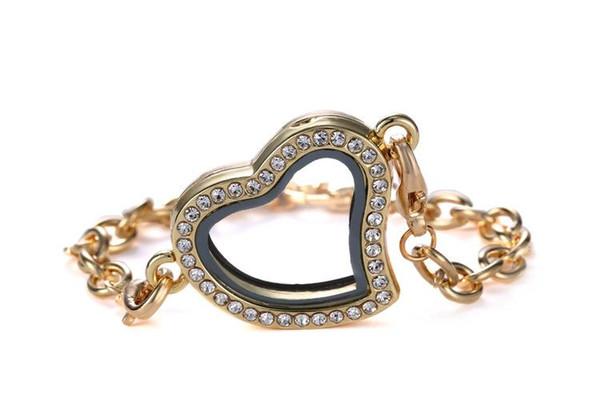 Nouveau Cristal Magnétique Flottant Coeur Médaillon Charme Verre Lockets Mémoire Vivante Médaillon Bracelet 30mm Pendentif Pour Bijoux Cadeau