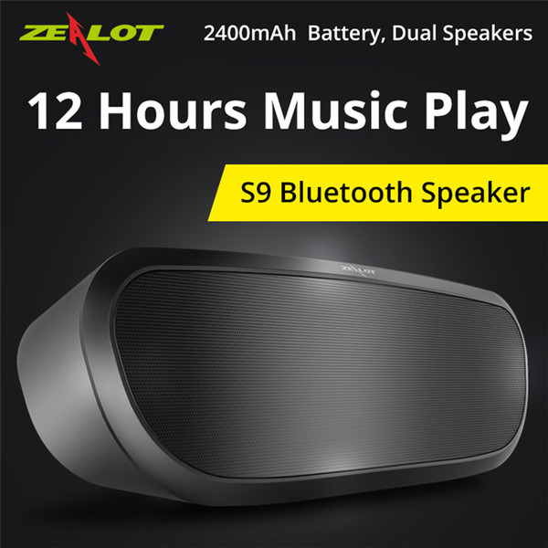 Originale Zealot S9 Altoparlante Bluetooth senza fili Supporto lettore musicale stereo portatile Scheda TF USB 12h Riproduzione musicale