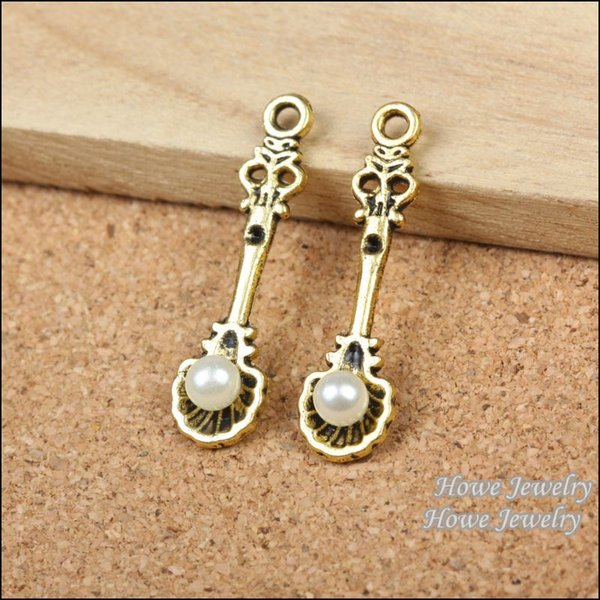 36pcs Vintage Charms Pearl spoon Pendant Antique gold plated Fit Bracelets Necklace DIY Metal Jewelry Making R020