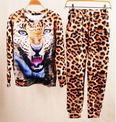 harajuku Autumn Set Animal Leopard Tiger skull 3D Print sport suit women Hoodie Suit Sportswear for Women's