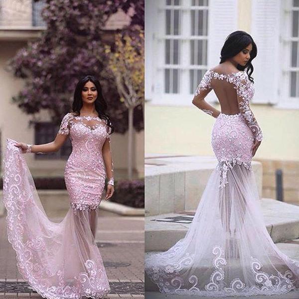 2016 New Arab Maniche Lunghe Prom Dresses Bateau Appliques Illusion Back Mermaid Lungo Modest Pink Lace Dubai Evening Party Pageant Gowns
